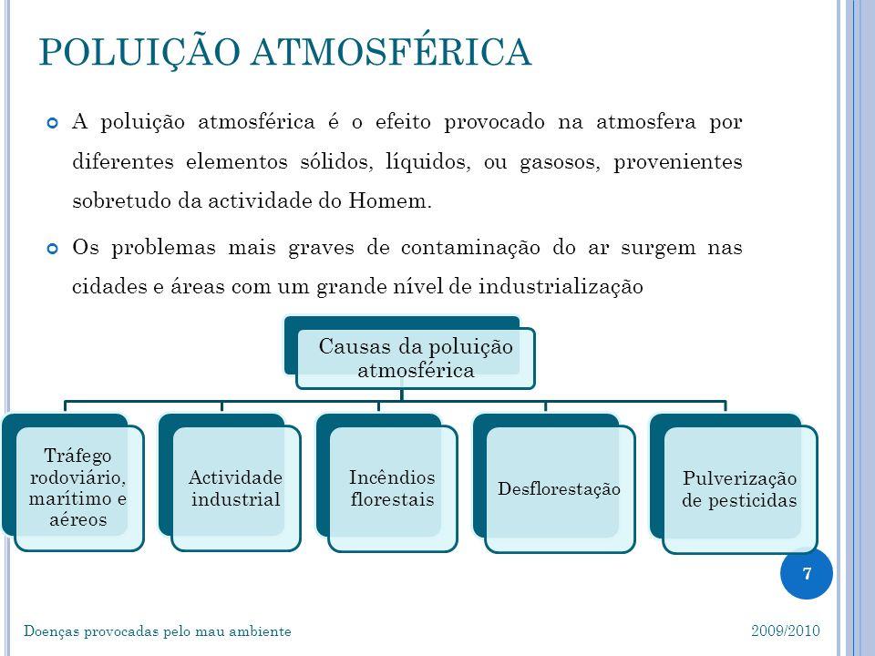 8 DOENÇAS CAUSADAS PELA POLUIÇÃO ATMOSFÉRICA Doenças provocadas pelo mau ambiente 2009/2010 A Poluição Atmosférica é a responsável pela destruição da camada de ozono, smog, chuvas ácidas e pelo efeito de estufa.