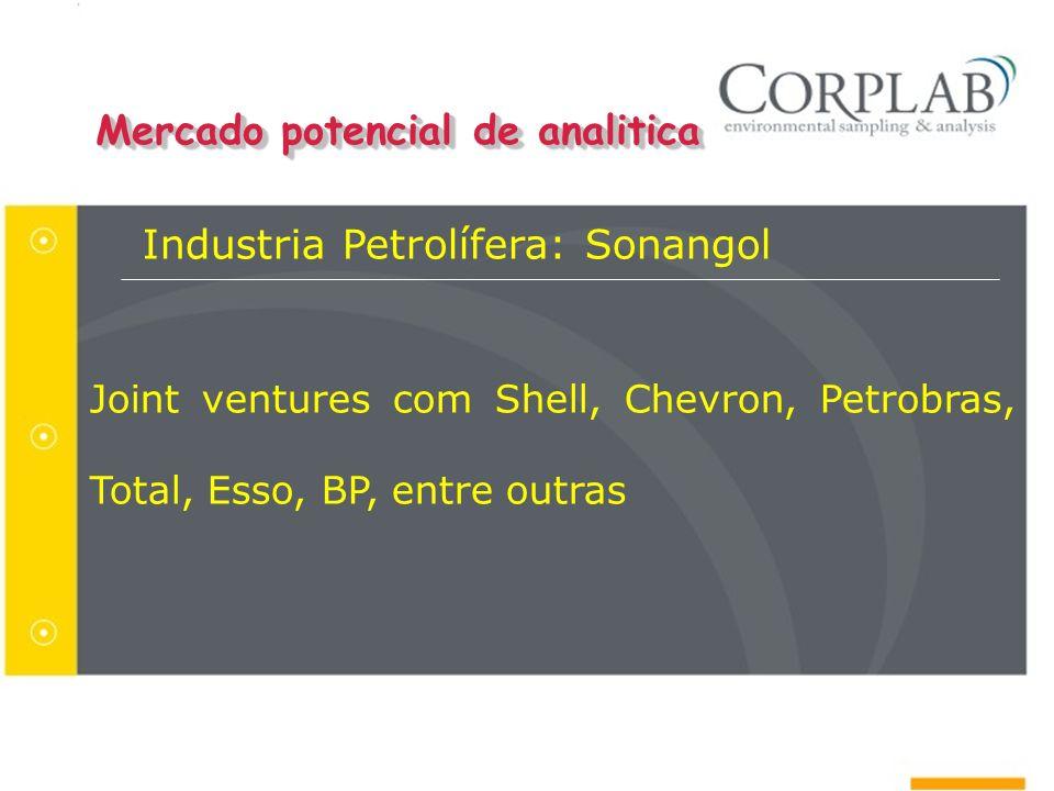 Mercado potencial de analitica Industria Petrolífera: Sonangol Joint ventures com Shell, Chevron, Petrobras, Total, Esso, BP, entre outras