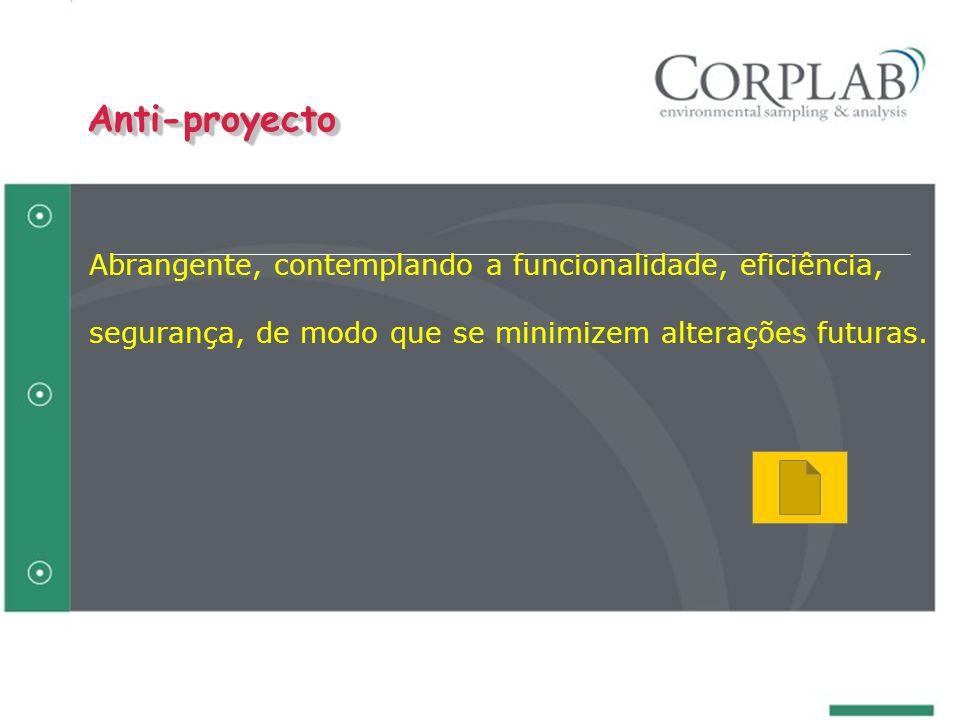 Abrangente, contemplando a funcionalidade, eficiência, segurança, de modo que se minimizem alterações futuras. Anti-proyectoAnti-proyecto