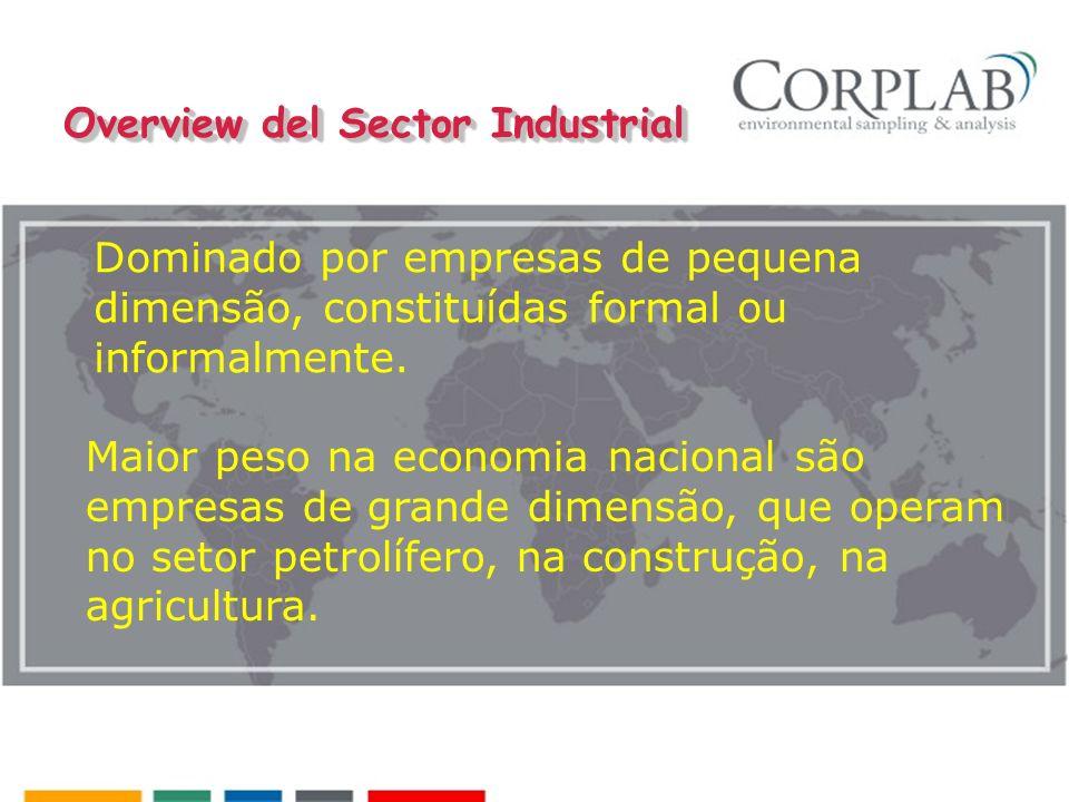 Overview del Sector Industrial Dominado por empresas de pequena dimensão, constituídas formal ou informalmente. Maior peso na economia nacional são em