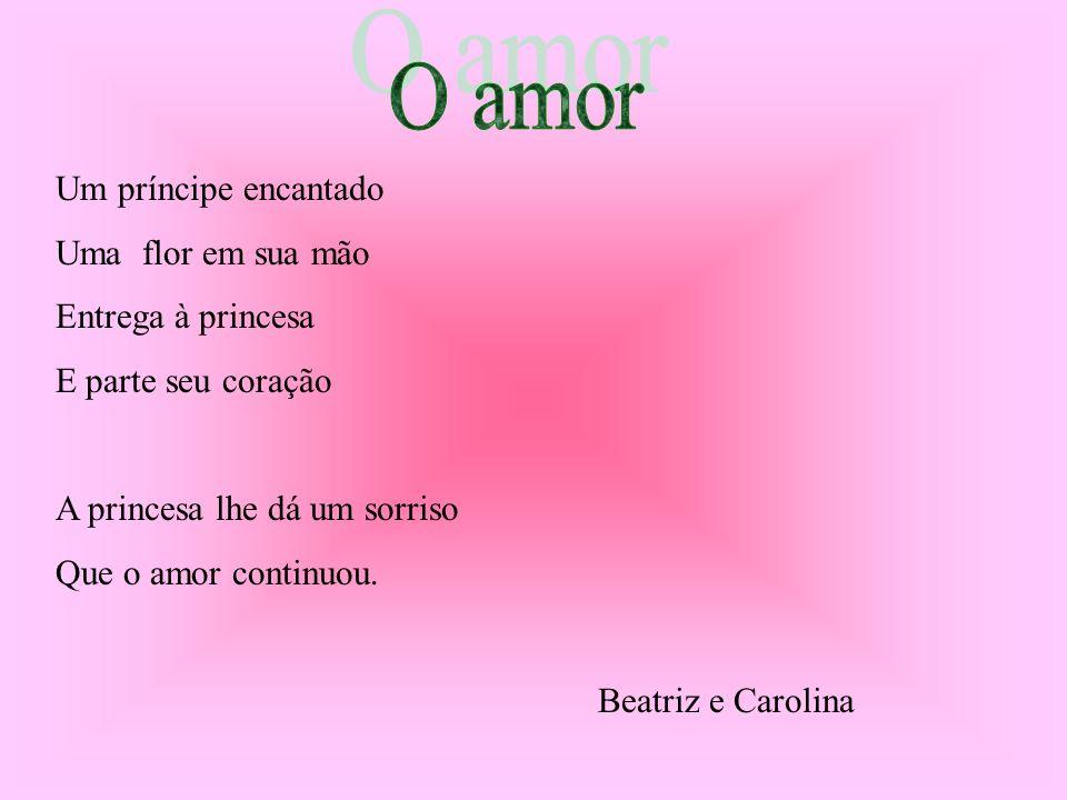 Um príncipe encantado Uma flor em sua mão Entrega à princesa E parte seu coração A princesa lhe dá um sorriso Que o amor continuou. Beatriz e Carolina