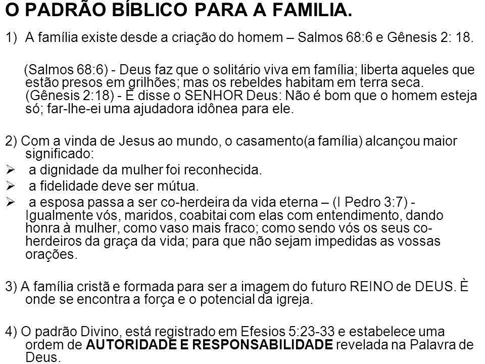 O PADRÃO BÍBLICO PARA A FAMILIA. 1)A família existe desde a criação do homem – Salmos 68:6 e Gênesis 2: 18. (Salmos 68:6) - Deus faz que o solitário v
