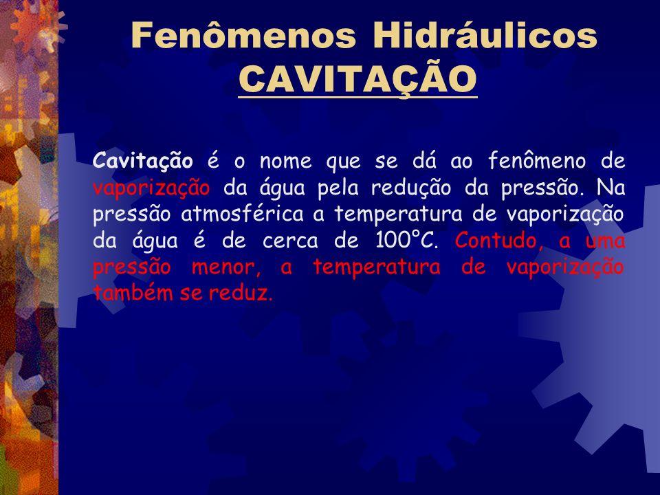 Fenômenos Hidráulicos CAVITAÇÃO Cavitação é o nome que se dá ao fenômeno de vaporização da água pela redução da pressão. Na pressão atmosférica a temp