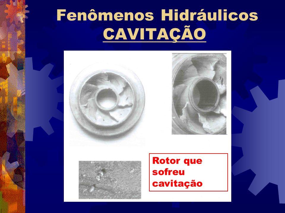 Fenômenos Hidráulicos CAVITAÇÃO Rotor que sofreu cavitação