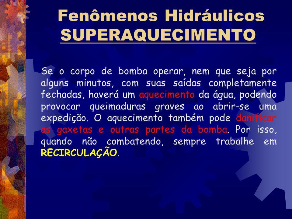 Fenômenos Hidráulicos SUPERAQUECIMENTO Se o corpo de bomba operar, nem que seja por alguns minutos, com suas saídas completamente fechadas, haverá um