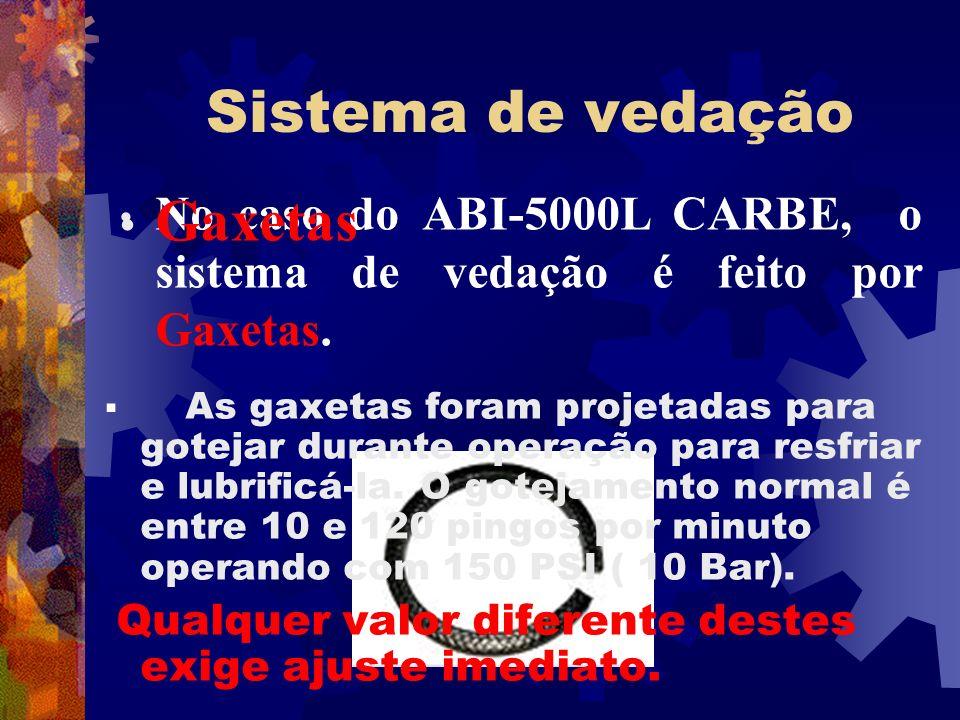 Sistema de vedação No caso do ABI-5000L CARBE, o sistema de vedação é feito por Gaxetas. Gaxetas As gaxetas foram projetadas para gotejar durante oper