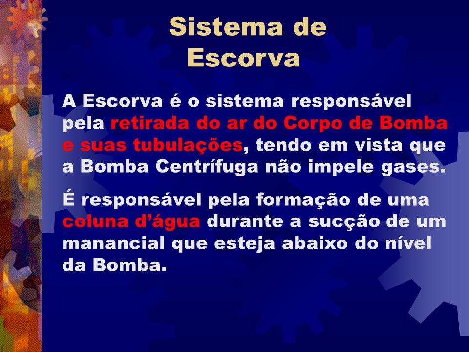 A Escorva é o sistema responsável pela retirada do ar do Corpo de Bomba e suas tubulações, tendo em vista que a Bomba Centrífuga não impele gases. É r