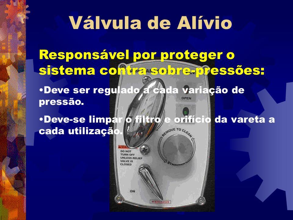 Válvula de Alívio Responsável por proteger o sistema contra sobre-pressões: Deve ser regulado a cada variação de pressão. Deve-se limpar o filtro e or