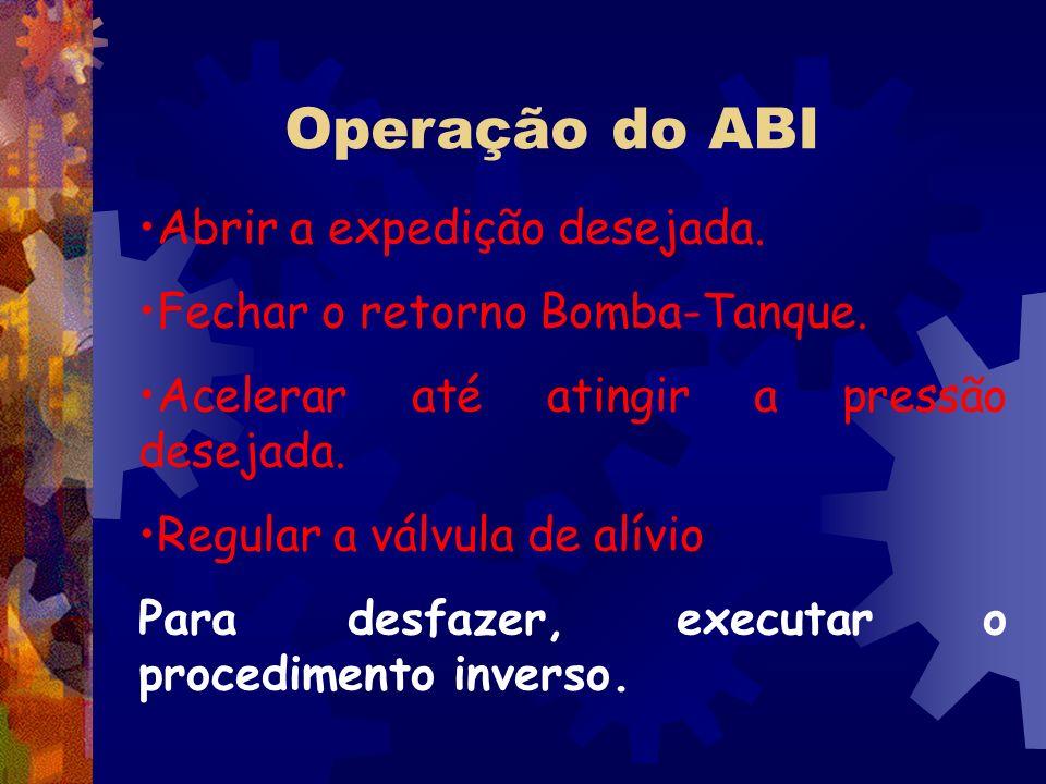 Operação do ABI Abrir a expedição desejada. Fechar o retorno Bomba-Tanque. Acelerar até atingir a pressão desejada. Regular a válvula de alívio Para d