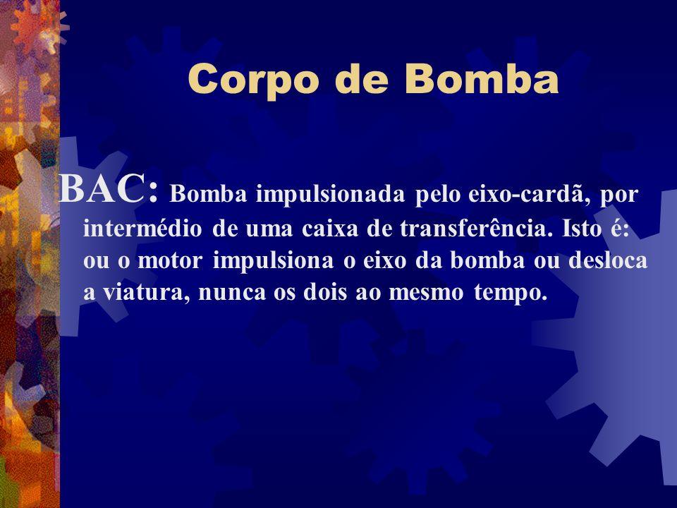 Corpo de Bomba BAC: Bomba impulsionada pelo eixo-cardã, por intermédio de uma caixa de transferência. Isto é: ou o motor impulsiona o eixo da bomba ou
