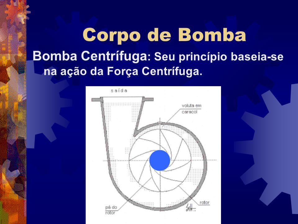 Corpo de Bomba Bomba Centrífuga : Seu princípio baseia-se na ação da Força Centrífuga.