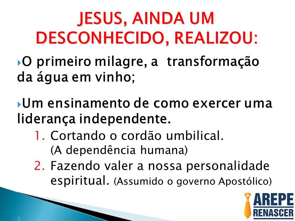 JESUS, AINDA UM DESCONHECIDO, REALIZOU: O primeiro milagre, a transformação da água em vinho; Um ensinamento de como exercer uma liderança independent