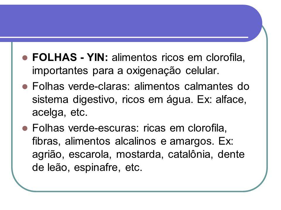 FOLHAS - YIN: alimentos ricos em clorofila, importantes para a oxigenação celular. Folhas verde-claras: alimentos calmantes do sistema digestivo, rico