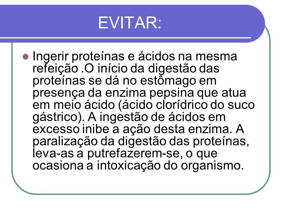 EVITAR: Ingerir proteínas e ácidos na mesma refeição.O início da digestão das proteínas se dá no estômago em presença da enzima pepsina que atua em me