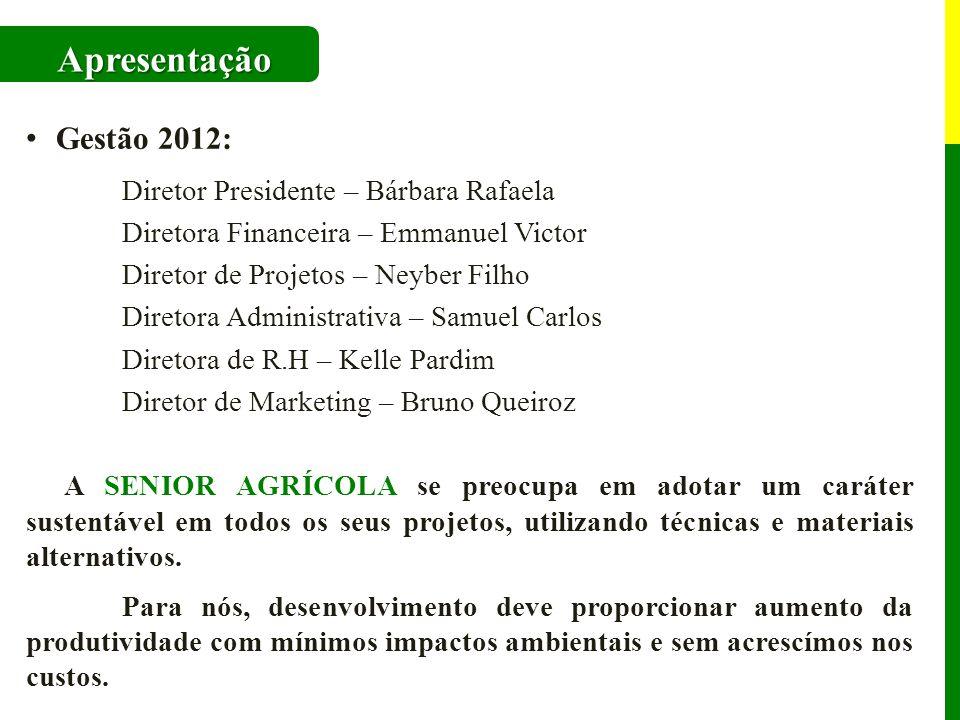 Apresentação Gestão 2012: Diretor Presidente – Bárbara Rafaela Diretora Financeira – Emmanuel Victor Diretor de Projetos – Neyber Filho Diretora Admin