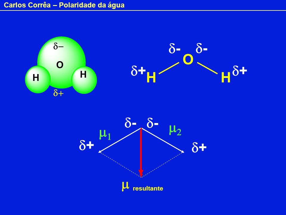 Carlos Corrêa – Polaridade da água H O H HH O + - - - - + + + resultante