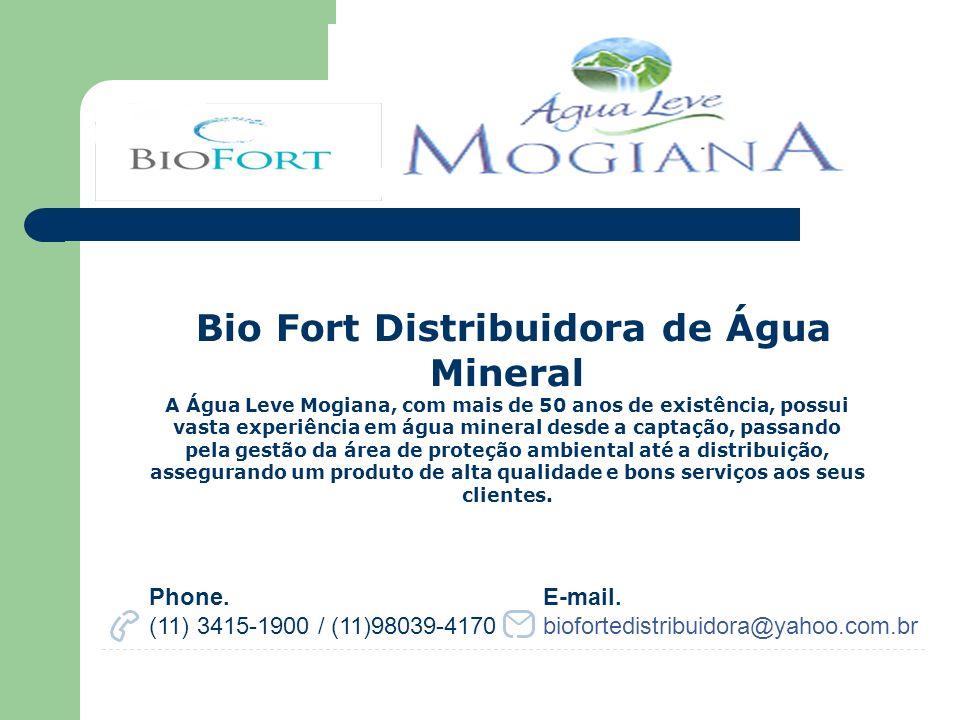 Bio Fort Distribuidora de Água Mineral A Água Leve Mogiana, com mais de 50 anos de existência, possui vasta experiência em água mineral desde a captaç