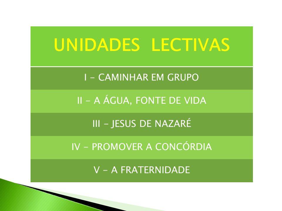 UNIDADES LECTIVAS I - CAMINHAR EM GRUPO II - A ÁGUA, FONTE DE VIDA III - JESUS DE NAZARÉ IV - PROMOVER A CONCÓRDIA V - A FRATERNIDADE