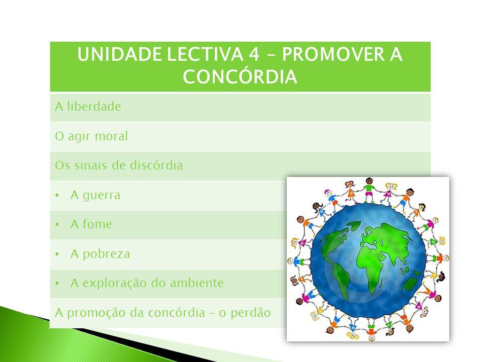UNIDADE LECTIVA 4 – PROMOVER A CONCÓRDIA A liberdade O agir moral Os sinais de discórdia A guerra A fome A pobreza A exploração do ambiente A promoção