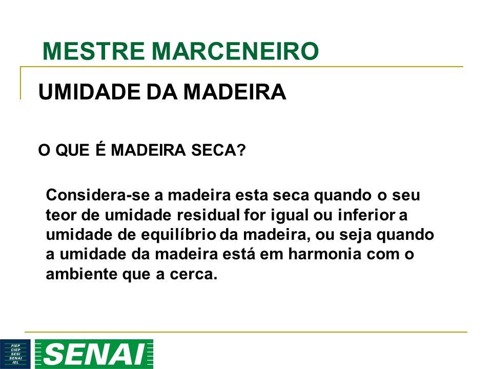 MESTRE MARCENEIRO Considera-se a madeira esta seca quando o seu teor de umidade residual for igual ou inferior a umidade de equilíbrio da madeira, ou seja quando a umidade da madeira está em harmonia com o ambiente que a cerca.