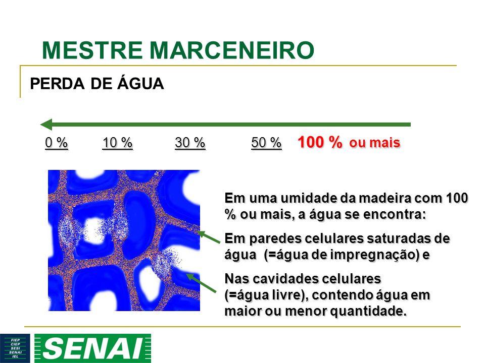 MESTRE MARCENEIRO 100 % ou mais 50 % 50 % Em uma umidade da madeira com 100 % ou mais, a água se encontra: Em paredes celulares saturadas de água (=água de impregnação) e Nas cavidades celulares (=água livre), contendo água em maior ou menor quantidade.
