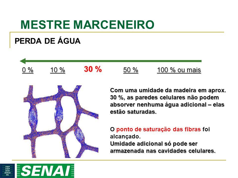 MESTRE MARCENEIRO 30 % Com uma umidade da madeira em aprox. 30 %, as paredes celulares não podem absorver nenhuma água adicional – elas estão saturada