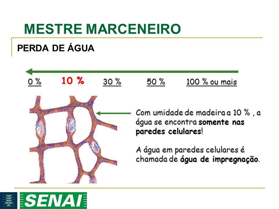 MESTRE MARCENEIRO 10 % Com umidade de madeira a 10 %, a água se encontra somente nas paredes celulares! A água em paredes celulares é chamada de água