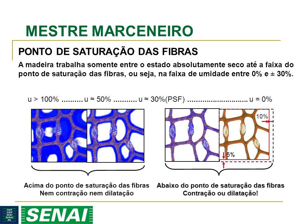 MESTRE MARCENEIRO A madeira trabalha somente entre o estado absolutamente seco até a faixa do ponto de saturação das fibras, ou seja, na faixa de umidade entre 0% e ± 30%.