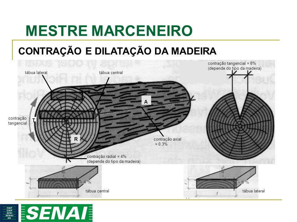 MESTRE MARCENEIRO contração tangencial 8% (depende do tipo da madeira) contração radial 4% (depende do tipo da madeira) contração tangencial tábua lateraltábua central contração axial 0,3% A R T CONTRAÇÃO E DILATAÇÃO DA MADEIRA tábua centraltábua lateral
