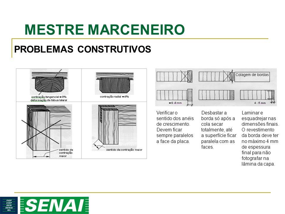 MESTRE MARCENEIRO PROBLEMAS CONSTRUTIVOS Verificar o sentido dos anéis de crescimento. Devem ficar sempre paralelos a face da placa. Desbastar a borda