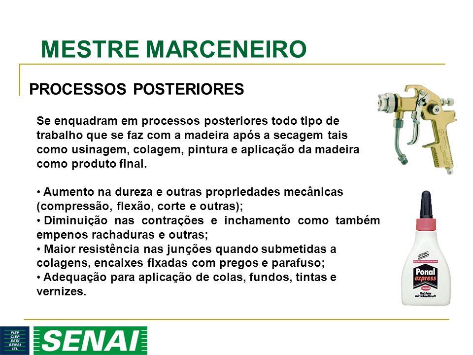 MESTRE MARCENEIRO PROCESSOS POSTERIORES Se enquadram em processos posteriores todo tipo de trabalho que se faz com a madeira após a secagem tais como
