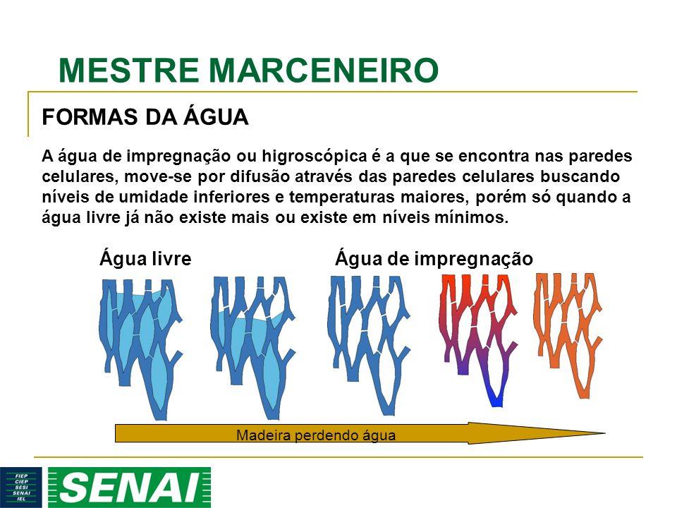 MESTRE MARCENEIRO A água de impregnação ou higroscópica é a que se encontra nas paredes celulares, move-se por difusão através das paredes celulares buscando níveis de umidade inferiores e temperaturas maiores, porém só quando a água livre já não existe mais ou existe em níveis mínimos.