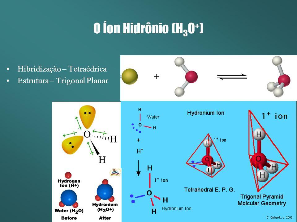 O Íon Hidrônio (H 3 O + ) Hibridização – Tetraédrica Estrutura – Trigonal Planar