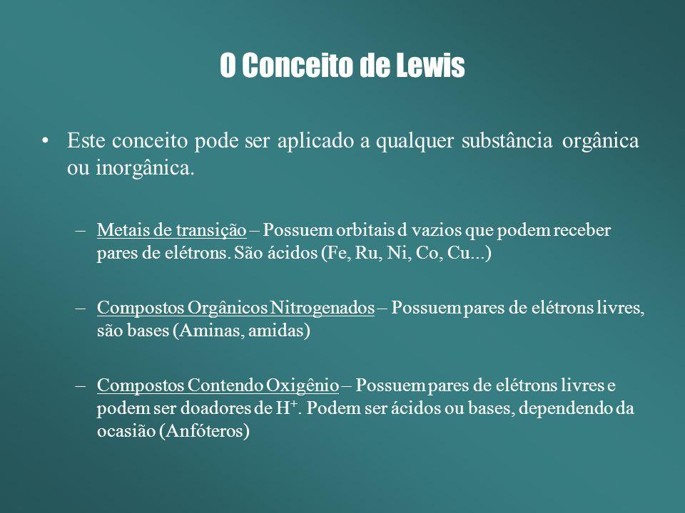 O Conceito de Lewis Este conceito pode ser aplicado a qualquer substância orgânica ou inorgânica. –Metais de transição – Possuem orbitais d vazios que