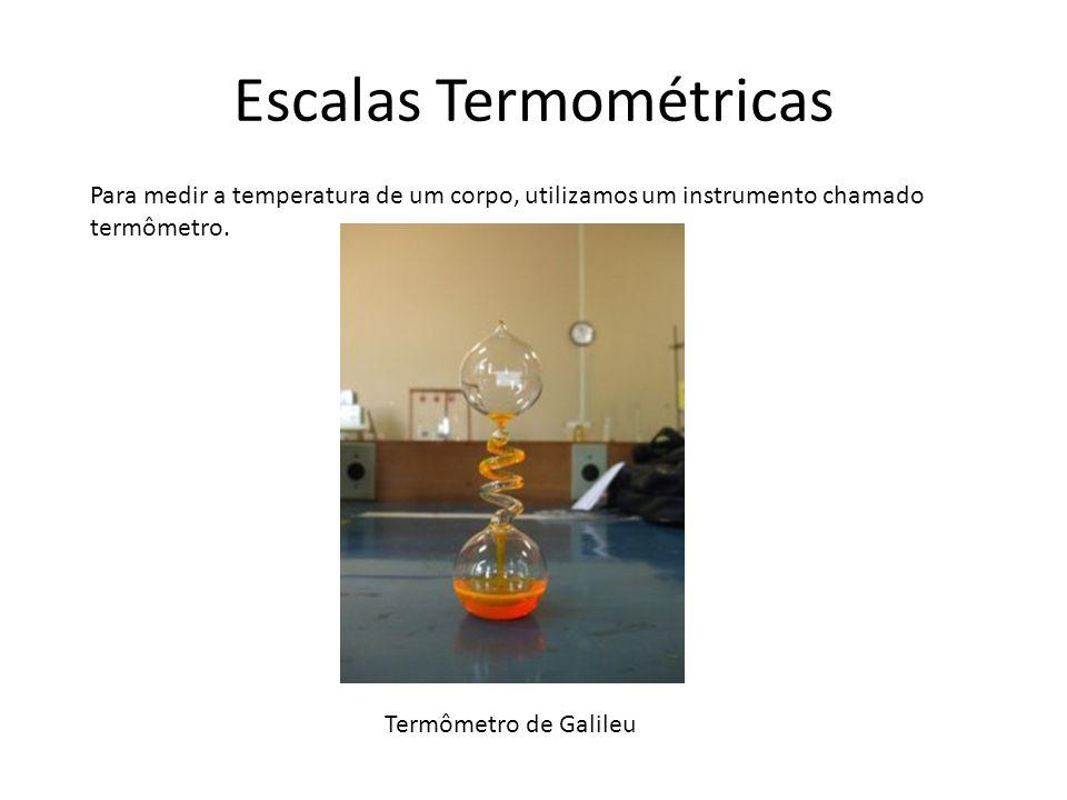 Escalas Termométricas Para medir a temperatura de um corpo, utilizamos um instrumento chamado termômetro. Termômetro de Galileu