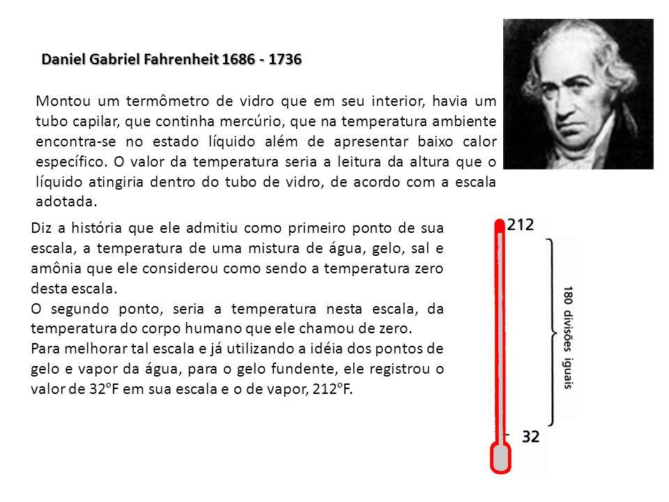 Daniel Gabriel Fahrenheit 1686 - 1736 Montou um termômetro de vidro que em seu interior, havia um tubo capilar, que continha mercúrio, que na temperat