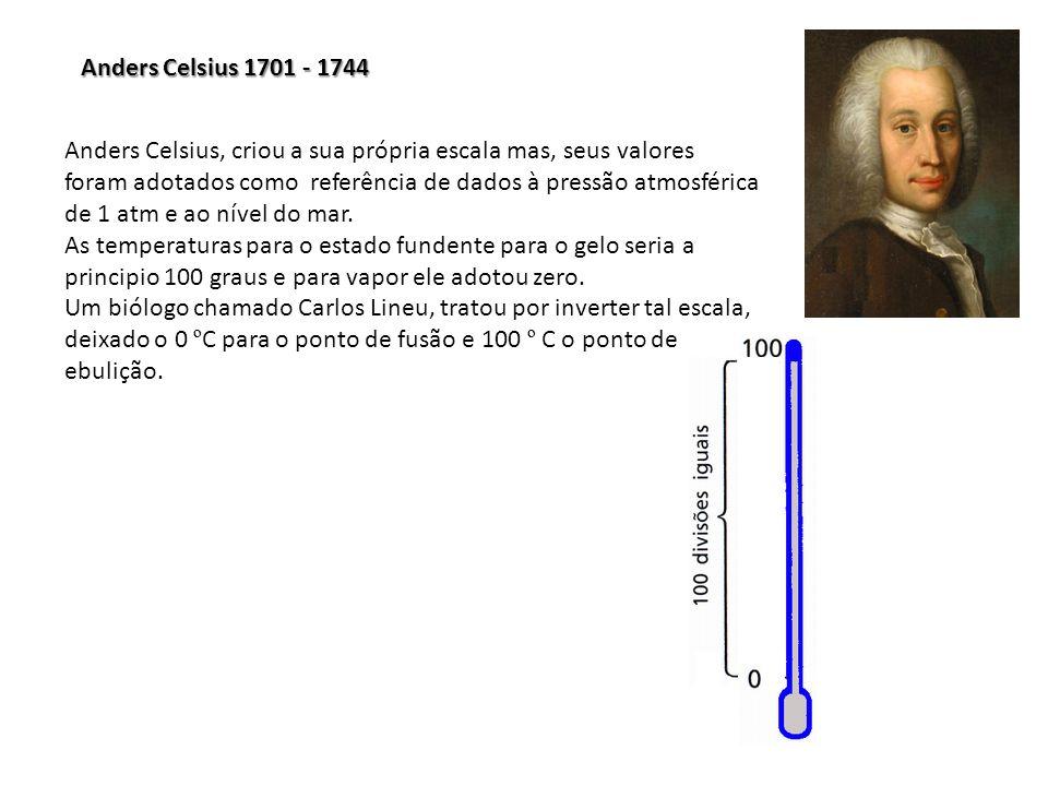 Anders Celsius 1701 - 1744 Anders Celsius, criou a sua própria escala mas, seus valores foram adotados como referência de dados à pressão atmosférica