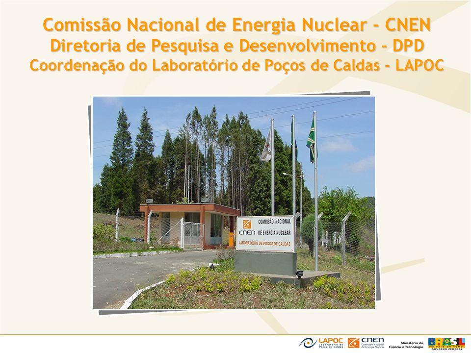 Prestação de Serviços à Terceiros Prestação de Serviços à Terceiros Trabalhos de cooperação técnica com universidades, centros de pesquisa, órgãos governamentais e outras unidades da CNEN Atividades de Pesquisa Atividades de Pesquisa Pesquisas no Planalto de Poços de Caldas (radioatividade natural e influência da INB/UTM na ecologia e meio ambiente) Pesquisas para apoio às atividades regulatórias, principalmente àquelas relacionadas a rejeitos radioativos Análises Químicas, Radiométricas e Biológicas Atividades Principais