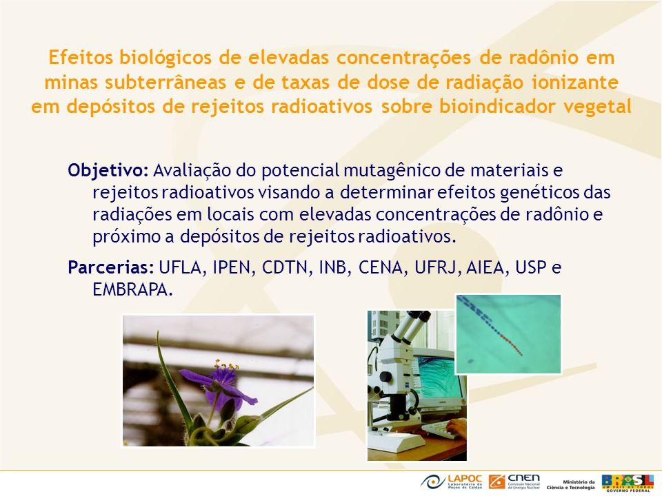 Objetivo: Avaliação do potencial mutagênico de materiais e rejeitos radioativos visando a determinar efeitos genéticos das radiações em locais com ele