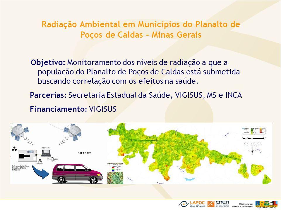 Objetivo: Monitoramento dos níveis de radiação a que a população do Planalto de Poços de Caldas está submetida buscando correlação com os efeitos na s