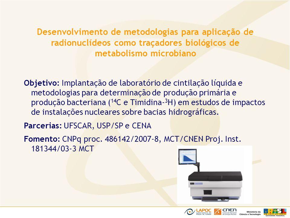 Objetivo: Implantação de laboratório de cintilação líquida e metodologias para determinação de produção primária e produção bacteriana ( 14 C e Timidi