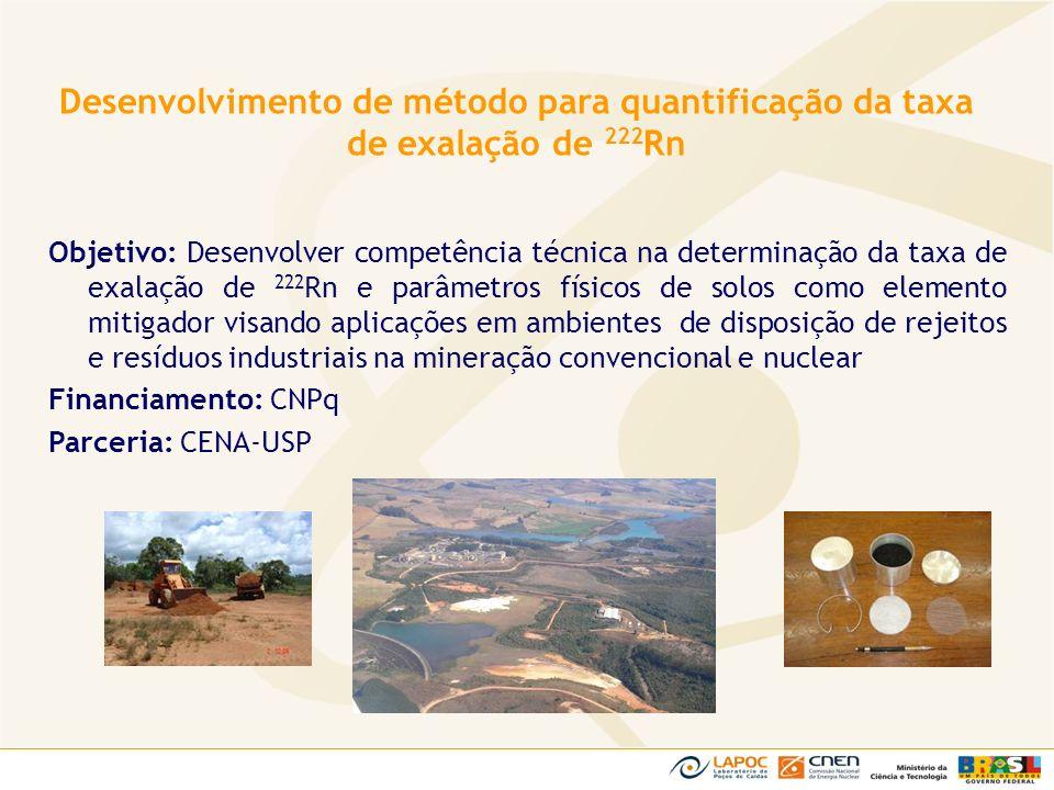 Objetivo: Desenvolver competência técnica na determinação da taxa de exalação de 222 Rn e parâmetros físicos de solos como elemento mitigador visando