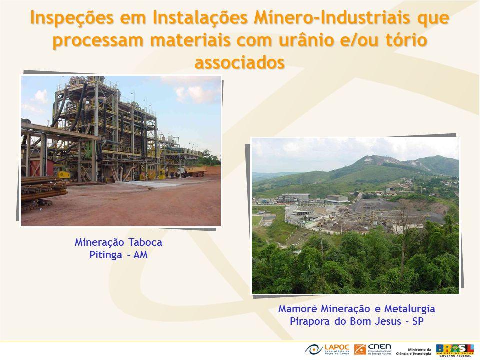 Mineração Taboca Pitinga - AM Mamoré Mineração e Metalurgia Pirapora do Bom Jesus - SP Inspeções em Instalações Mínero-Industriais que processam mater