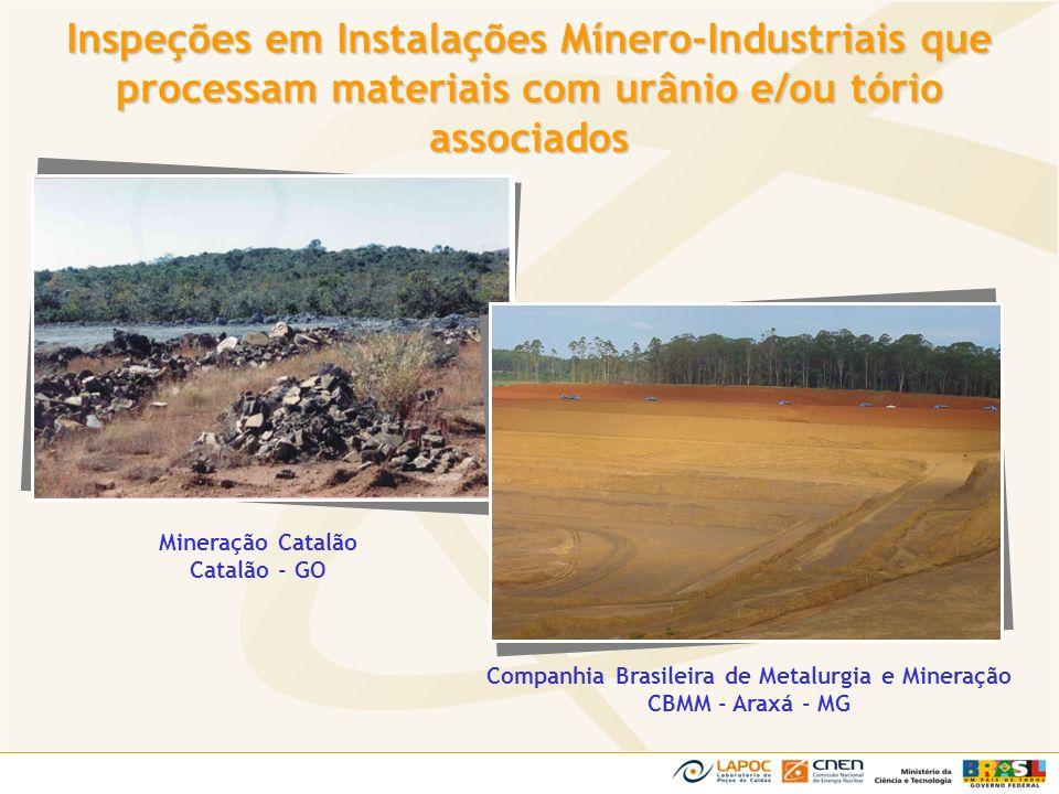 Companhia Brasileira de Metalurgia e Mineração CBMM - Araxá - MG Mineração Catalão Catalão - GO Inspeções em Instalações Mínero-Industriais que proces