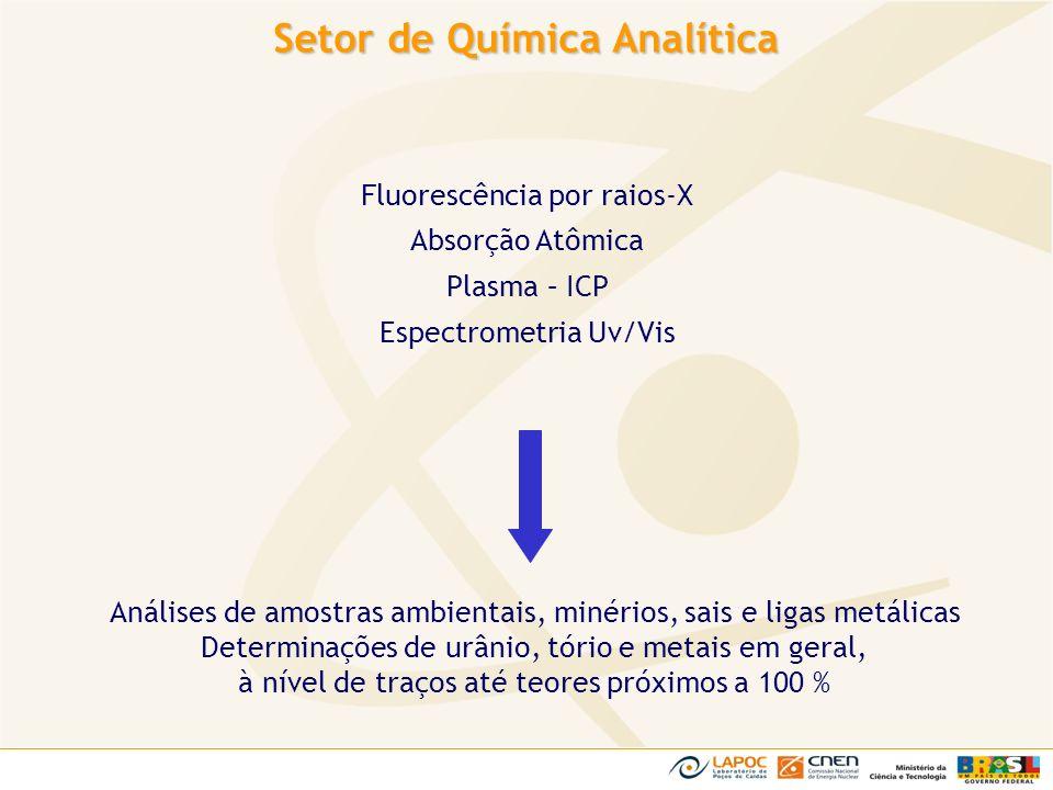 Setor de Química Analítica Fluorescência por raios-X Absorção Atômica Plasma – ICP Espectrometria Uv/Vis Análises de amostras ambientais, minérios, sa