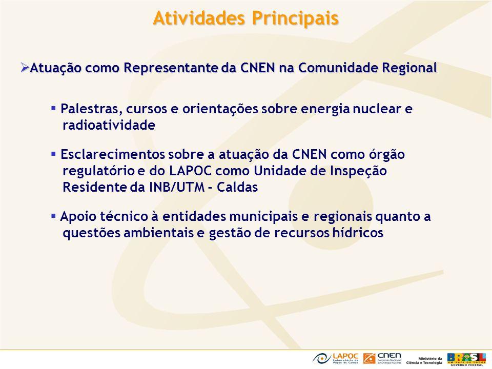 Atuação como Representante da CNEN na Comunidade Regional Atuação como Representante da CNEN na Comunidade Regional Palestras, cursos e orientações so