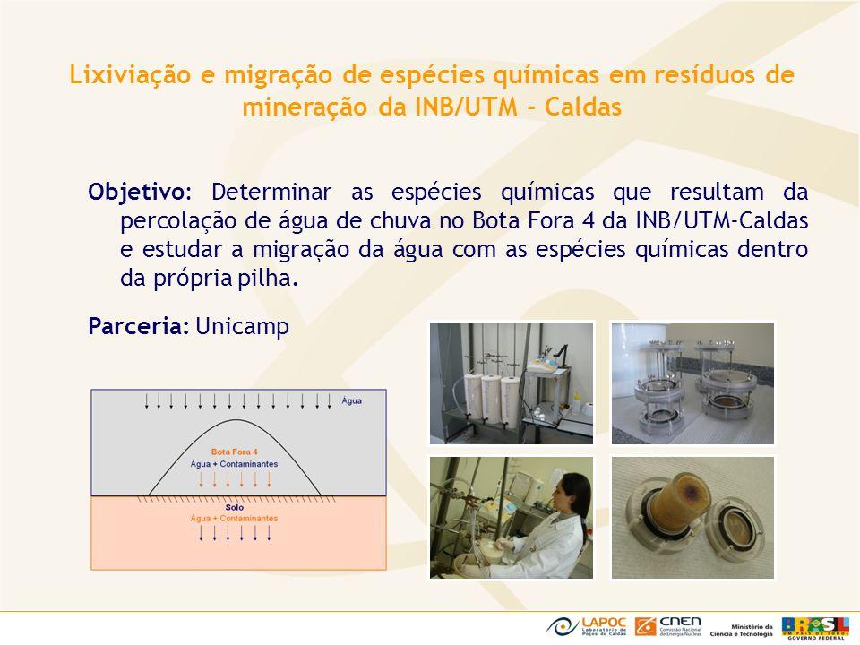 Objetivo: Determinar as espécies químicas que resultam da percolação de água de chuva no Bota Fora 4 da INB/UTM-Caldas e estudar a migração da água co