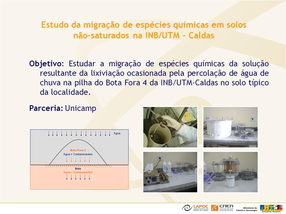 Objetivo: Estudar a migração de espécies químicas da solução resultante da lixiviação ocasionada pela percolação de água de chuva na pilha do Bota For