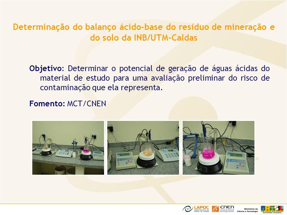 Objetivo: Determinar o potencial de geração de águas ácidas do material de estudo para uma avaliação preliminar do risco de contaminação que ela repre