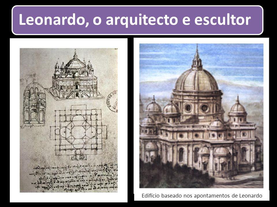 Leonardo, o arquitecto e escultor Edifício baseado nos apontamentos de Leonardo